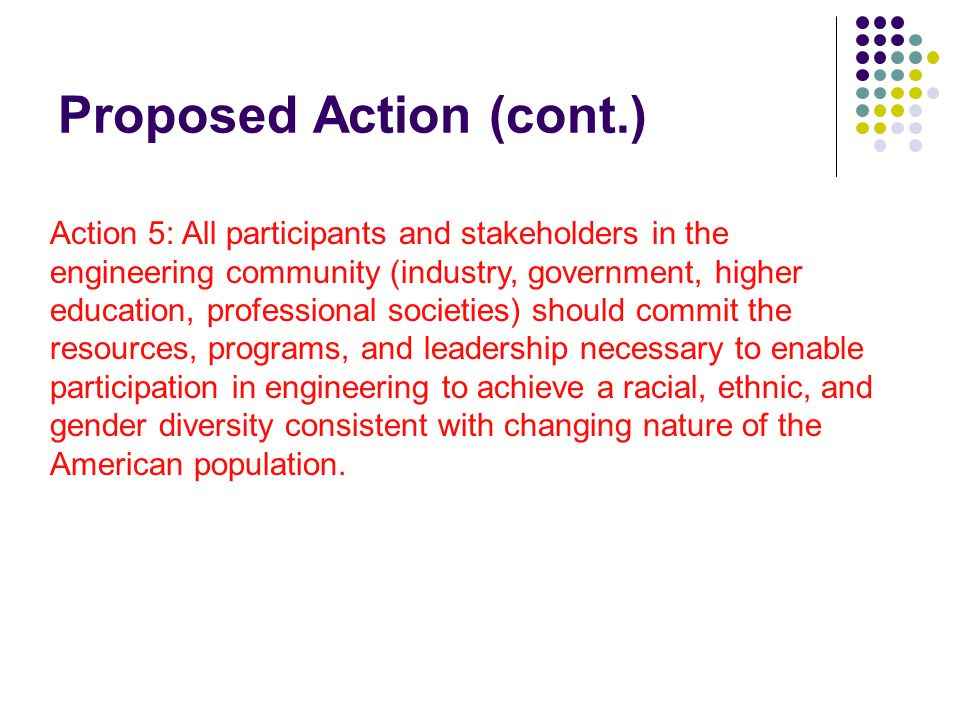 Proposed Action (cont.) Action 5: All participants and stakeholders in the engineering community (industry, government, higher education, professional