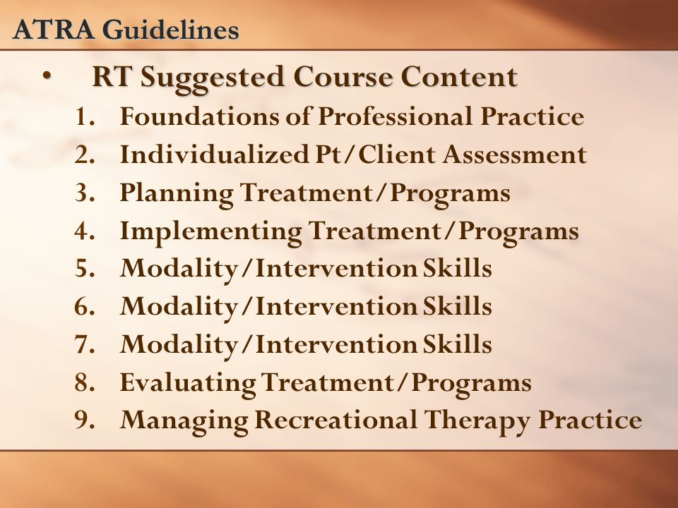 ATRA Guidelines RT Suggested Course ContentRT Suggested Course Content 1.