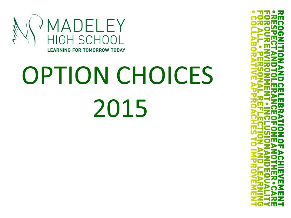 OPTION CHOICES 2015