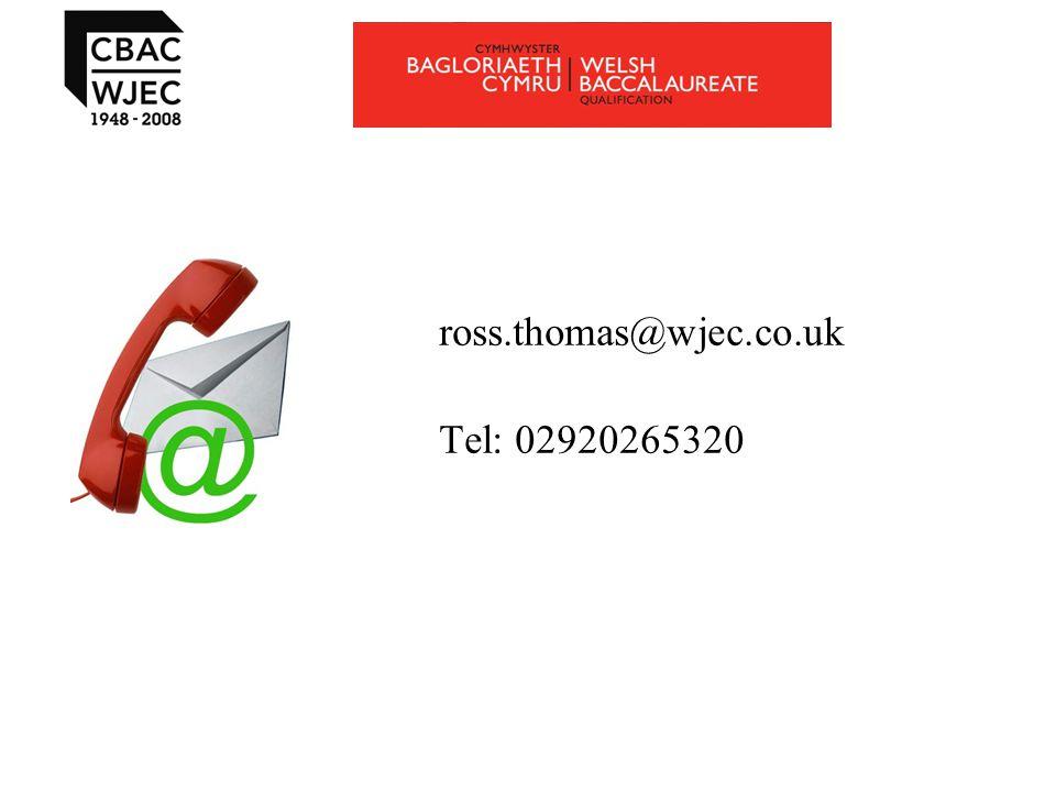 ross.thomas@wjec.co.uk Tel: 02920265320