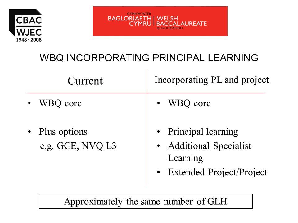 WBQ INCORPORATING PRINCIPAL LEARNING WBQ core Plus options e.g.