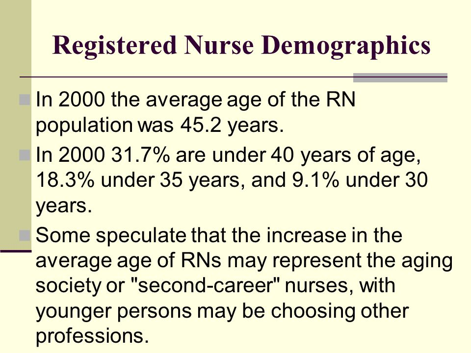 Registered Nurse Demographics In 2000 the average age of the RN population was 45.2 years. In 2000 31.7% are under 40 years of age, 18.3% under 35 yea