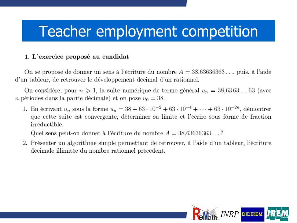 Teacher employment competition