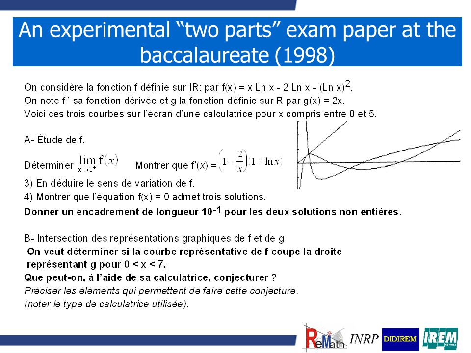 An experimental two parts exam paper at the baccalaureate (1998)