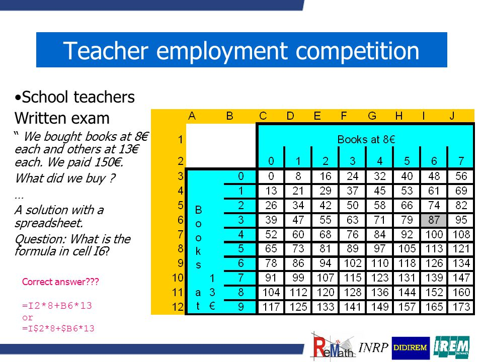Teacher employment competition Secondary teachers –Calculator more or less compulsory at the oral exams –Function, sequences –Dynamic geometry –'Advanced calculators'