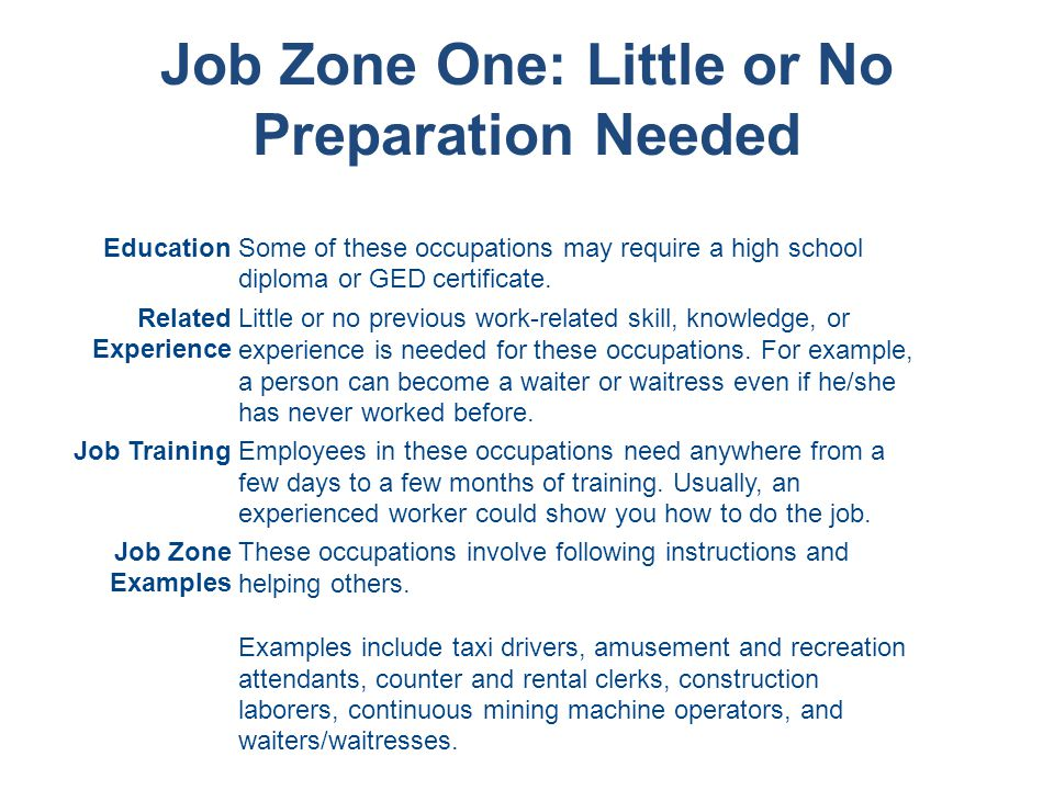 Job Zone One: Little or No Preparation Needed EducationSome of these occupations may require a high school diploma or GED certificate.