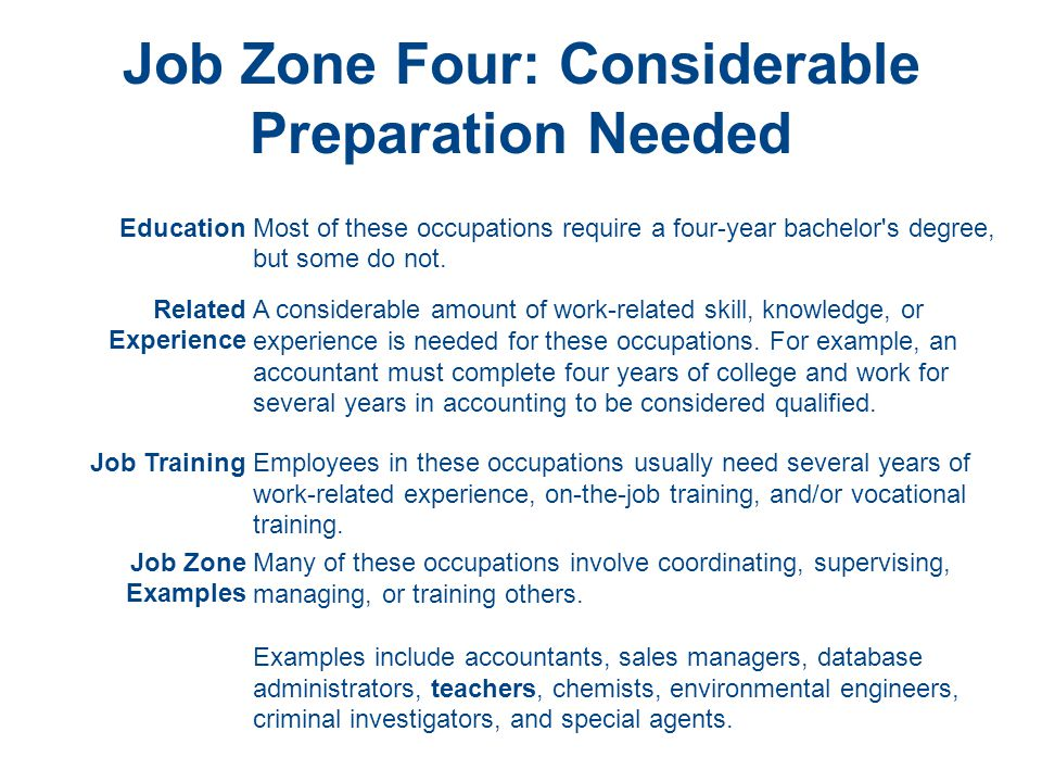 Job Zone Four: Considerable Preparation Needed EducationMost of these occupations require a four-year bachelor s degree, but some do not.
