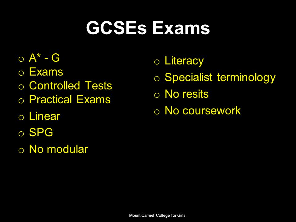 Core GCSEs- Compulsory English Language & Literature Mathematics Additional Science Religious Education (RE) NO EXAMINATIONS Personal Social Health & Citizenship Education (PSHCE) Physical Education (PE) Mount Carmel College for Girls