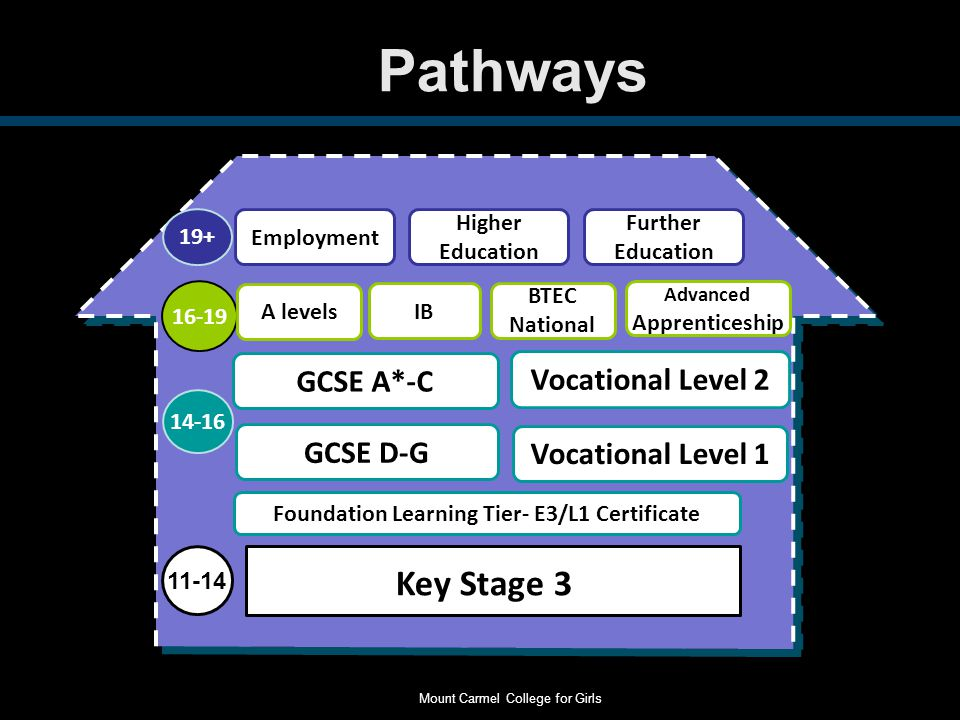 Pathways 11-14 14-16 16-19 19+ GCSE D-G GCSE A*-C A levels Vocational Level 1 Vocational Level 2 BTEC National Advanced Apprenticeship Employment Higher Education Further Education Key Stage 3 IB Foundation Learning Tier- E3/L1 Certificate Mount Carmel College for Girls