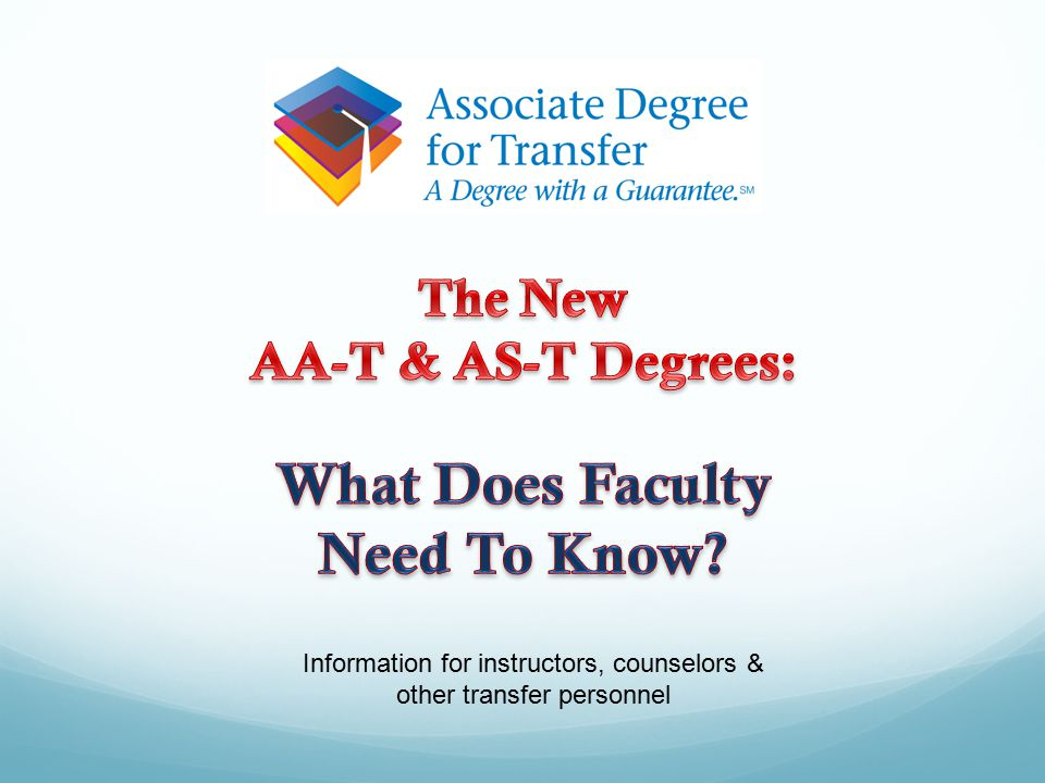 Information for instructors, counselors & other transfer personnel