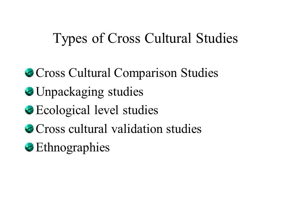 Types of Cross Cultural Studies Cross Cultural Comparison Studies Unpackaging studies Ecological level studies Cross cultural validation studies Ethnographies
