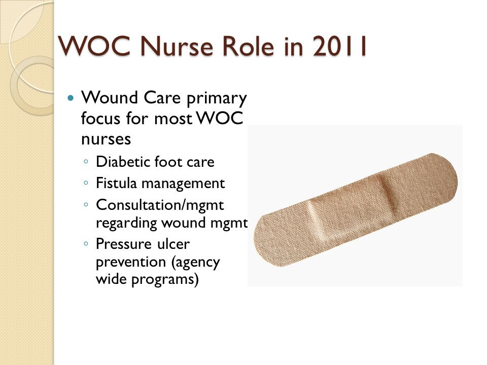 WOC Nurse Role in 2011 Ostomy Care ◦ Preop counseling/ stoma site marking ◦ Postop: pouch selec- tion/instruction in self care ◦ Rehabilitative care and counseling (sexual counseling)