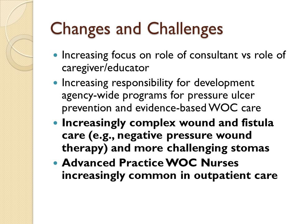 Changes and Challenges Increasing focus on role of consultant vs role of caregiver/educator Increasing responsibility for development agency-wide programs for pressure ulcer prevention and evidence-based WOC care Increasingly complex wound and fistula care (e.g., negative pressure wound therapy) and more challenging stomas Advanced Practice WOC Nurses increasingly common in outpatient care