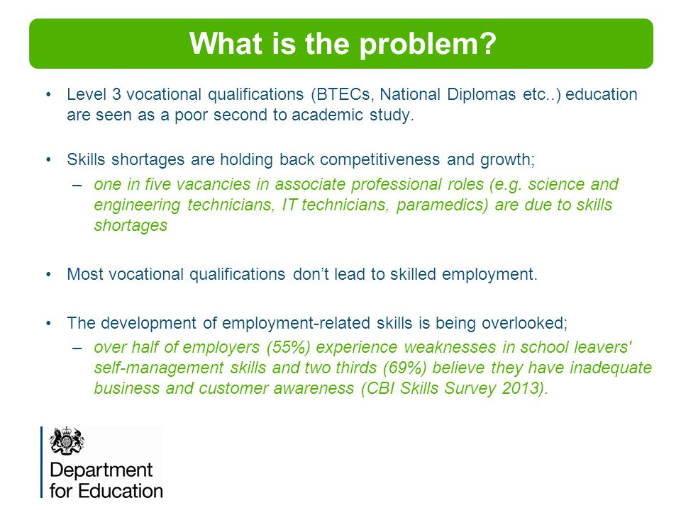 What is the problem? Level 3 vocational qualifications (BTECs, National Diplomas etc..) education are seen as a poor second to academic study. Skills