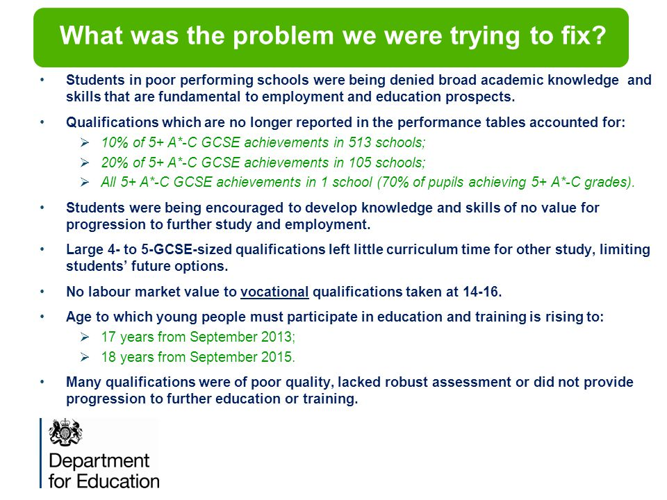 What was the problem we were trying to fix? Students in poor performing schools were being denied broad academic knowledge and skills that are fundame