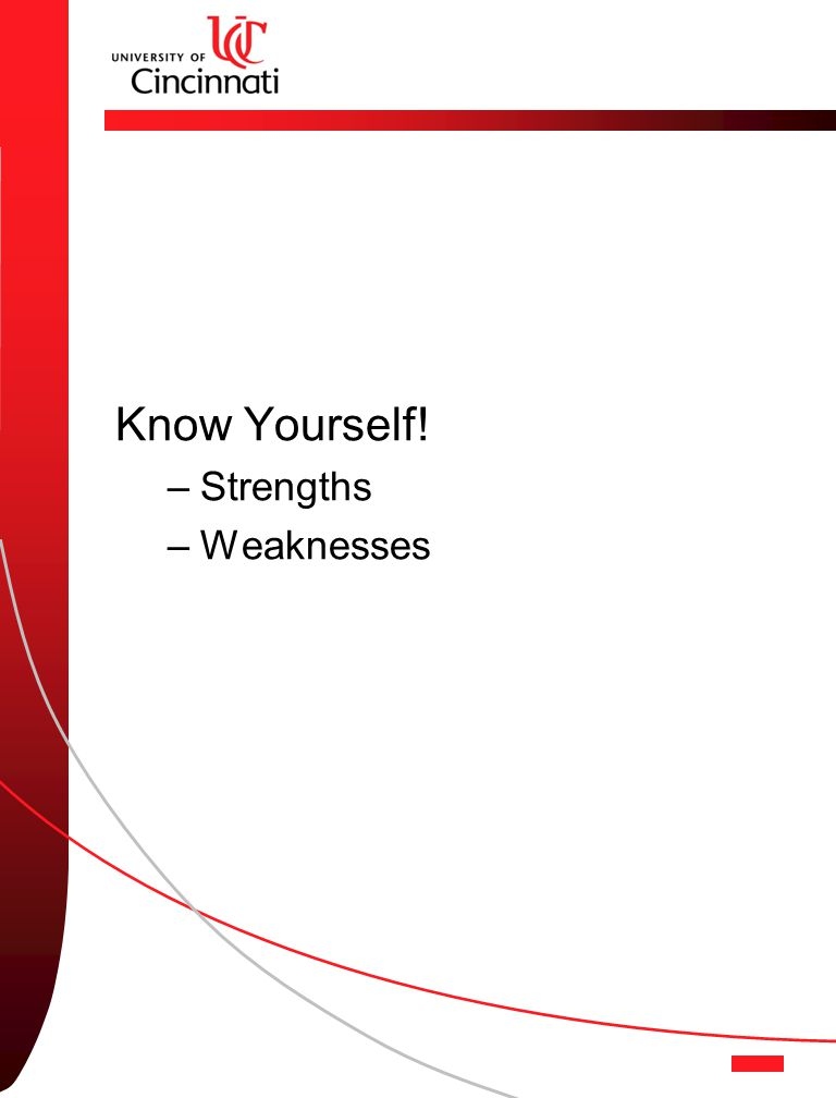 Know Yourself! –Strengths –Weaknesses