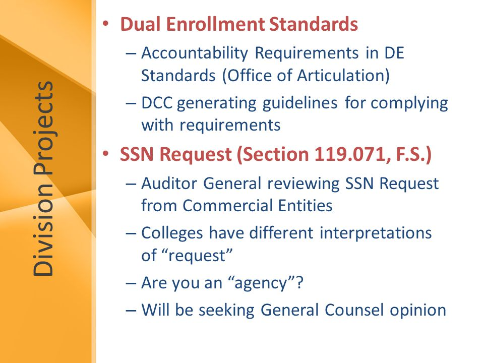 Division Projects Dual Enrollment Standards – Accountability Requirements in DE Standards (Office of Articulation) – DCC generating guidelines for complying with requirements SSN Request (Section 119.071, F.S.) – Auditor General reviewing SSN Request from Commercial Entities – Colleges have different interpretations of request – Are you an agency .