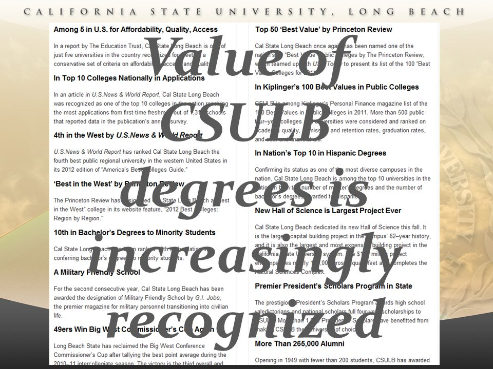 Value of CSULB degrees is increasingly recognized