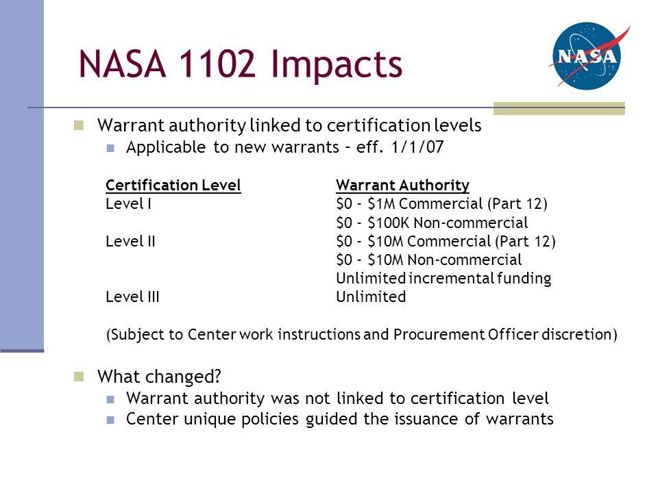 NASA 1102 Impacts Warrant authority linked to certification levels Applicable to new warrants – eff.