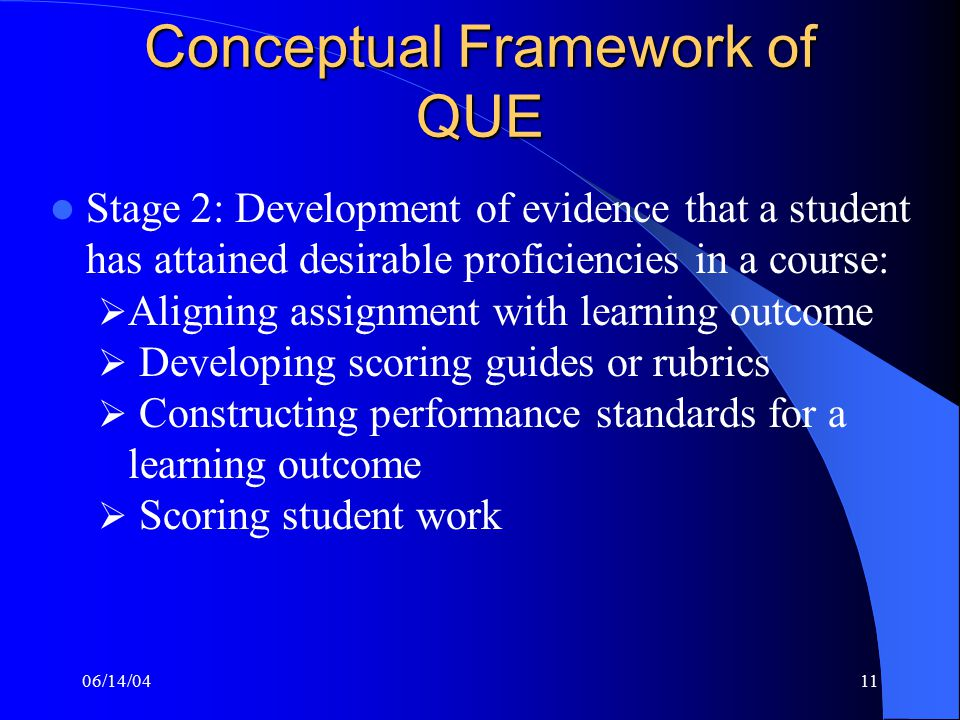 06/14/0411 Conceptual Framework of QUE Stage 2: Development of evidence that a student has attained desirable proficiencies in a course:  Aligning assignment with learning outcome  Developing scoring guides or rubrics  Constructing performance standards for a learning outcome  Scoring student work