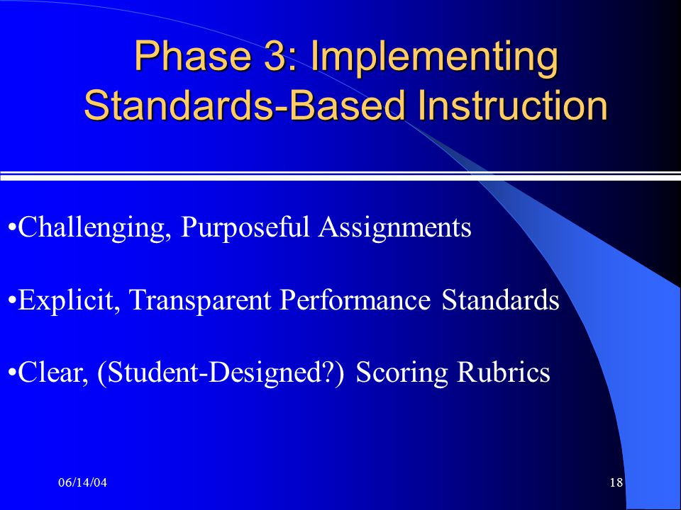 06/14/0418 Phase 3: Implementing Standards-Based Instruction Challenging, Purposeful Assignments Explicit, Transparent Performance Standards Clear, (Student-Designed?) Scoring Rubrics