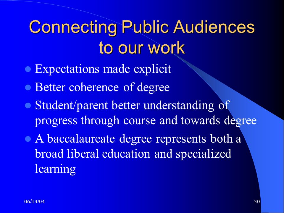 06/14/0430 Connecting Public Audiences to our work Expectations made explicit Better coherence of degree Student/parent better understanding of progress through course and towards degree A baccalaureate degree represents both a broad liberal education and specialized learning