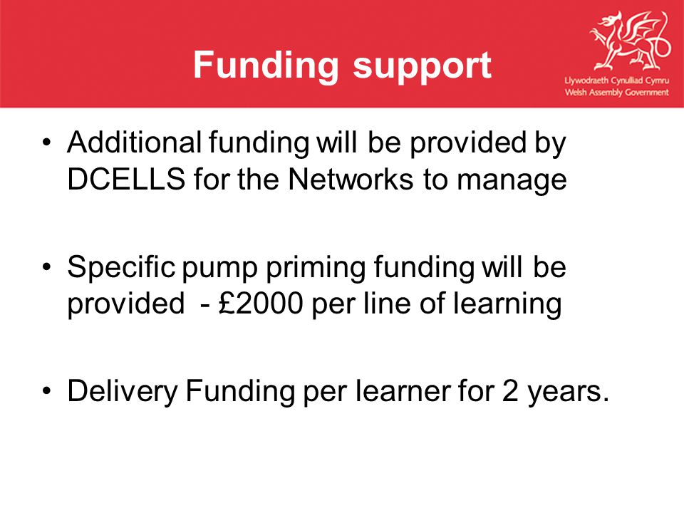 Funding support Additional funding will be provided by DCELLS for the Networks to manage Specific pump priming funding will be provided - £2000 per line of learning Delivery Funding per learner for 2 years.