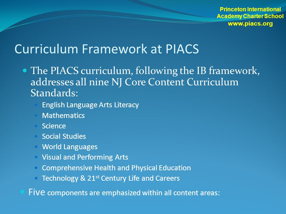 Curriculum Framework at PIACS The PIACS curriculum, following the IB framework, addresses all nine NJ Core Content Curriculum Standards: English Langu