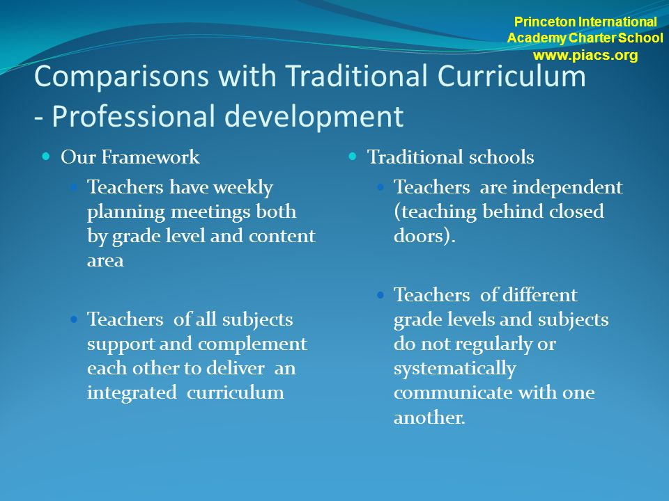 Comparisons with Traditional Curriculum - Professional development Our Framework Teachers have weekly planning meetings both by grade level and content area Teachers of all subjects support and complement each other to deliver an integrated curriculum Traditional schools Teachers are independent (teaching behind closed doors).