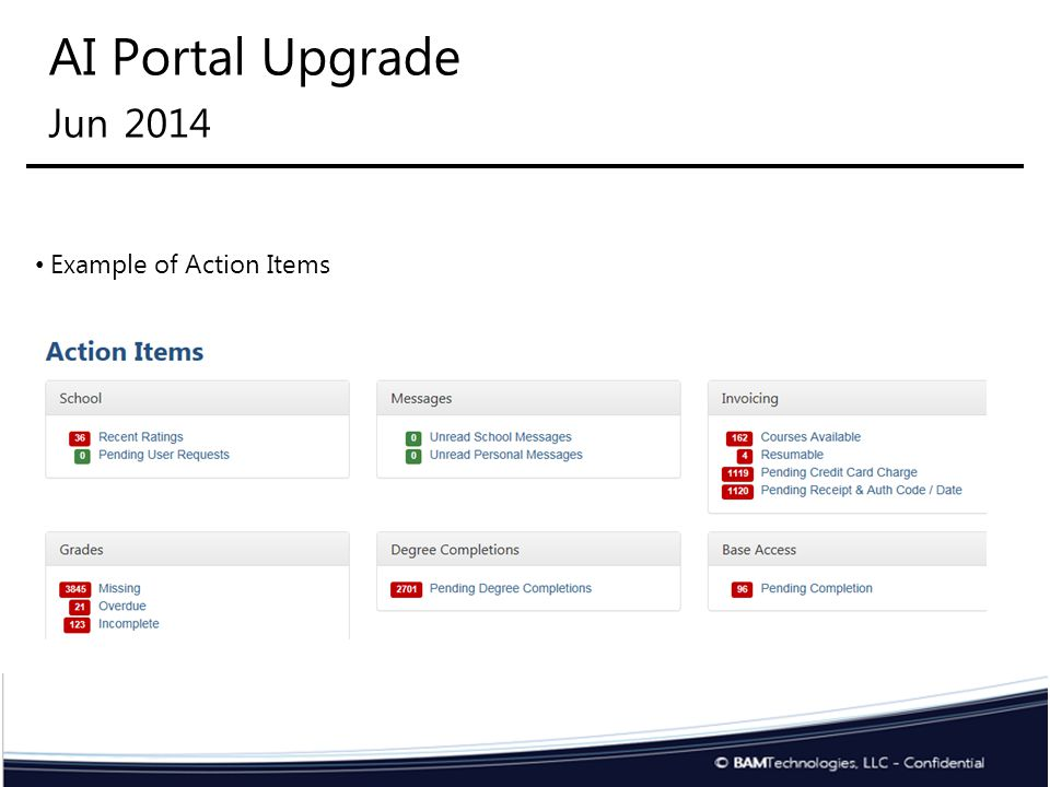 AI Portal Upgrade 1 Oct 2014 Degree programs required to be loading in AI Portal Students must select from degree programs loaded in AI Portal.