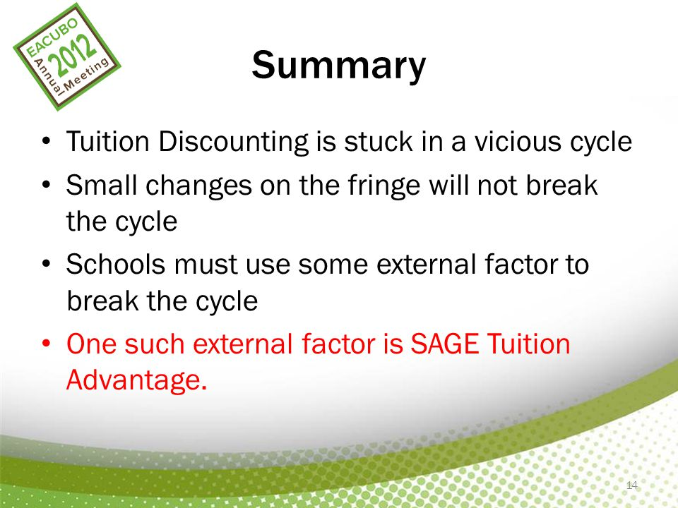 14 Summary Tuition Discounting is stuck in a vicious cycle Small changes on the fringe will not break the cycle Schools must use some external factor
