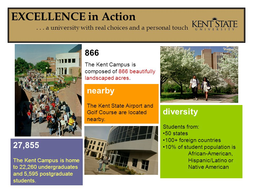 EXCELLENCE in Action... a university with real choices and a personal touch 866 The Kent Campus is composed of 866 beautifully landscaped acres. nearb