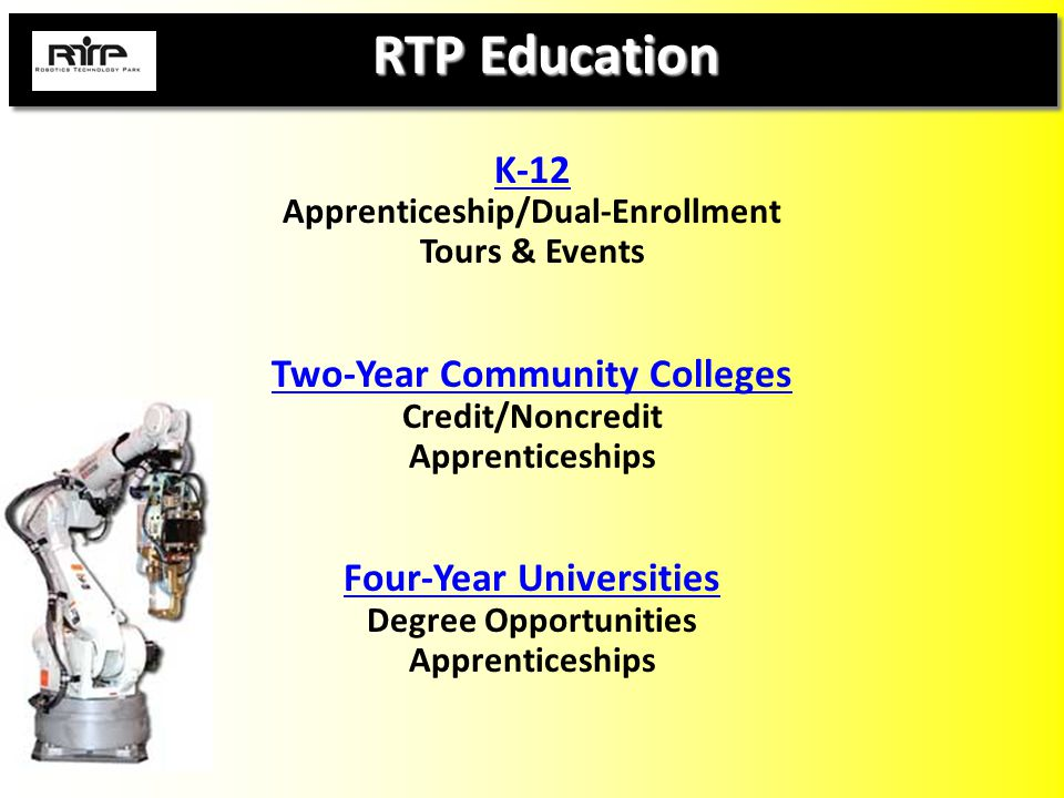 RTP Education RTP Education K-12 Apprenticeship/Dual-Enrollment Tours & Events Two-Year Community Colleges Credit/Noncredit Apprenticeships Four-Year Universities Degree Opportunities Apprenticeships