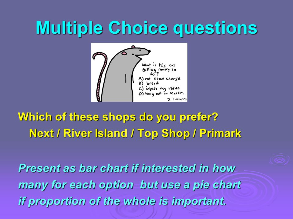 Multiple Choice questions Which of these shops do you prefer.