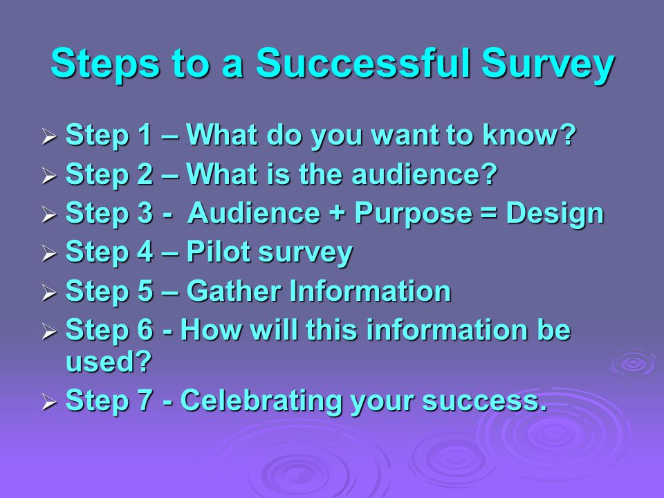 Steps to a Successful Survey  Step 1 – What do you want to know.