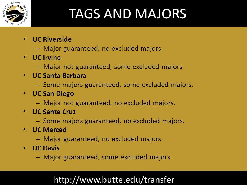 TAGS AND MAJORS UC Riverside – Major guaranteed, no excluded majors.