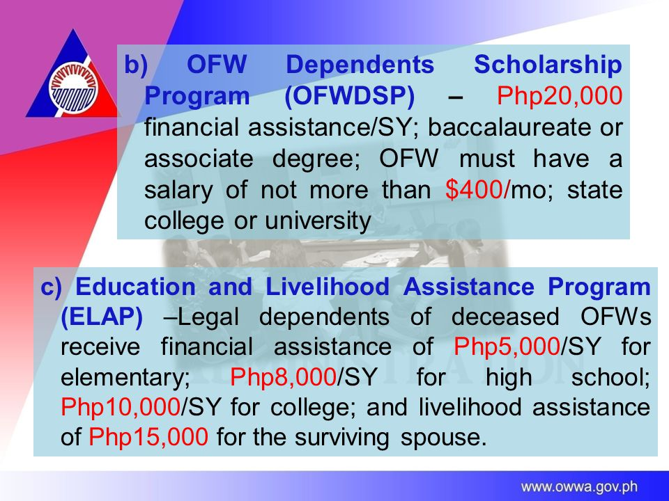 b) OFW Dependents Scholarship Program (OFWDSP) – Php20,000 financial assistance/SY; baccalaureate or associate degree; OFW must have a salary of not more than $400/mo; state college or university c) Education and Livelihood Assistance Program (ELAP) –Legal dependents of deceased OFWs receive financial assistance of Php5,000/SY for elementary; Php8,000/SY for high school; Php10,000/SY for college; and livelihood assistance of Php15,000 for the surviving spouse.
