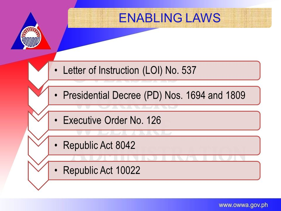 ENABLING LAWS Letter of Instruction (LOI) No. 537Presidential Decree (PD) Nos.
