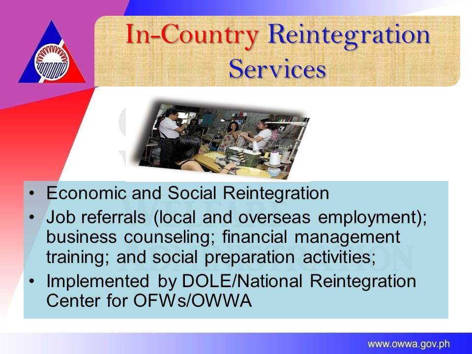 In-Country Reintegration Services Economic and Social Reintegration Job referrals (local and overseas employment); business counseling; financial management training; and social preparation activities; Implemented by DOLE/National Reintegration Center for OFWs/OWWA