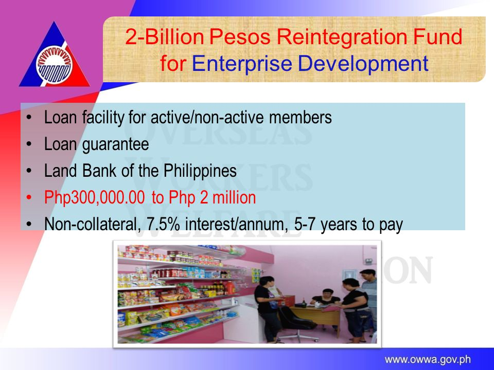 2-Billion Pesos Reintegration Fund for Enterprise Development Loan facility for active/non-active members Loan guarantee Land Bank of the Philippines Php300,000.00 to Php 2 million Non-collateral, 7.5% interest/annum, 5-7 years to pay
