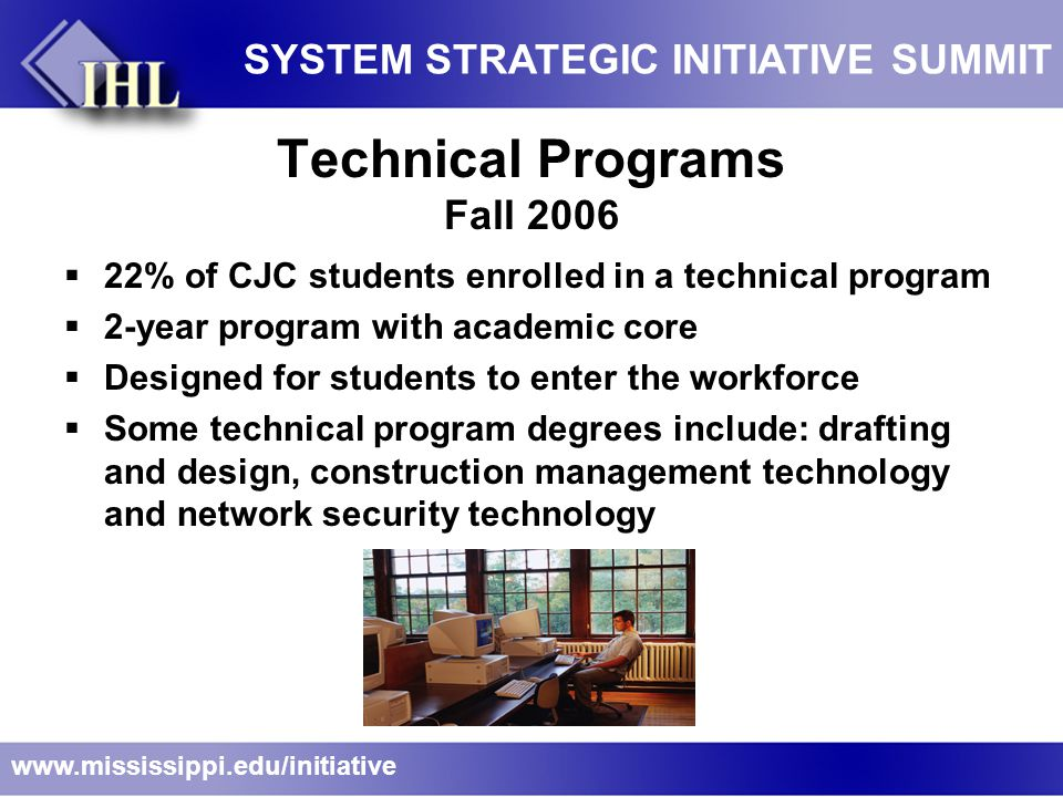 Technical Programs Fall 2006  22% of CJC students enrolled in a technical program  2-year program with academic core  Designed for students to enter the workforce  Some technical program degrees include: drafting and design, construction management technology and network security technology www.mississippi.edu/initiative SYSTEM STRATEGIC INITIATIVE SUMMIT
