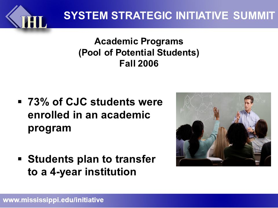 Academic Programs (Pool of Potential Students) Fall 2006  73% of CJC students were enrolled in an academic program  Students plan to transfer to a 4-year institution www.mississippi.edu/initiative SYSTEM STRATEGIC INITIATIVE SUMMIT
