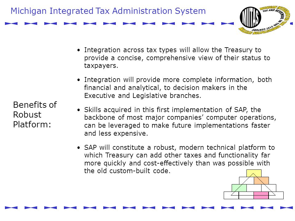 Integration across tax types will allow the Treasury to provide a concise, comprehensive view of their status to taxpayers.