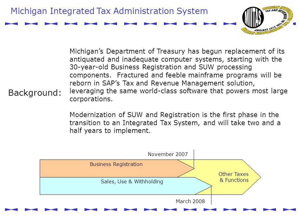 Michigan Integrated Tax Administration System MIITAS Other Taxes & Functions Sales, Use & Withholding Business Registration November 2007 March 2008 Michigan's Department of Treasury has begun replacement of its antiquated and inadequate computer systems, starting with the 30-year-old Business Registration and SUW processing components.
