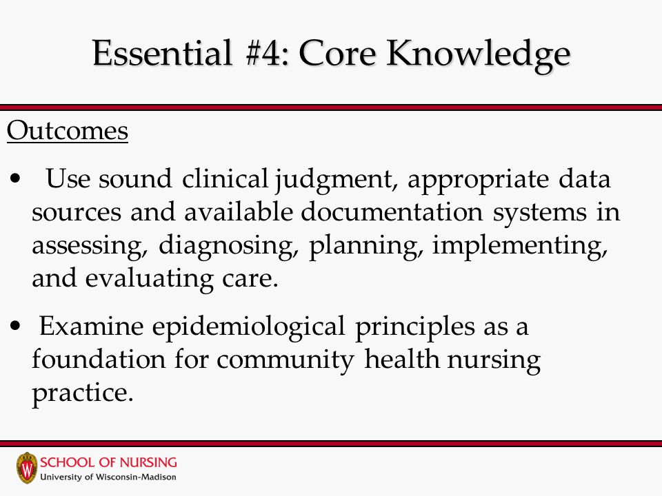 Essential #4: Core Knowledge Outcomes Use sound clinical judgment, appropriate data sources and available documentation systems in assessing, diagnosing, planning, implementing, and evaluating care.