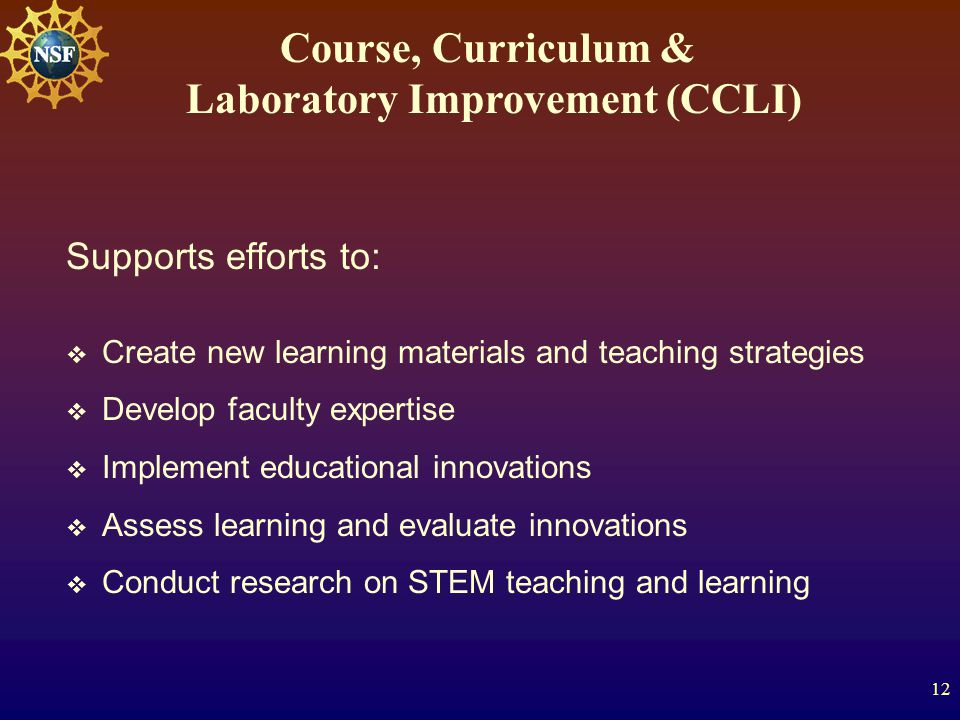 12 Supports efforts to:  Create new learning materials and teaching strategies  Develop faculty expertise  Implement educational innovations  Assess learning and evaluate innovations  Conduct research on STEM teaching and learning Course, Curriculum & Laboratory Improvement (CCLI)