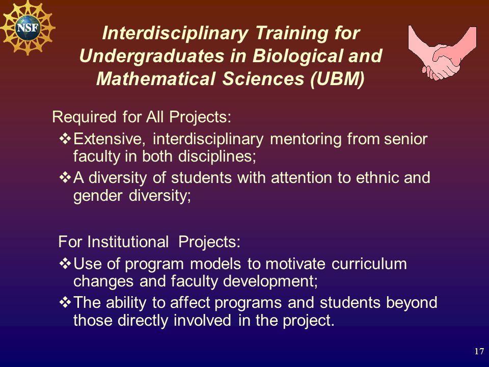 17 Required for All Projects:  Extensive, interdisciplinary mentoring from senior faculty in both disciplines;  A diversity of students with attention to ethnic and gender diversity; For Institutional Projects:  Use of program models to motivate curriculum changes and faculty development;  The ability to affect programs and students beyond those directly involved in the project.