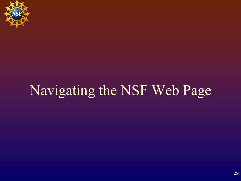 29 Navigating the NSF Web Page