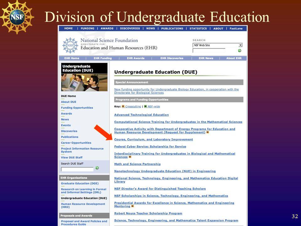 32 Division of Undergraduate Education