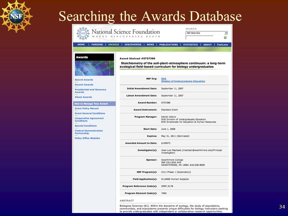 34 Searching the Awards Database